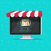 Online shop on computer vector illustration, e-commerce store, internet shop isolated, flat cartoon laptop as ecommerce on-line store with shopping cart on screen, digital showcase poster