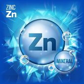 Zn Zinc Vector. Mineral Blue Pill Icon. Vitamin Capsule Pill Icon. Substance For Beauty, Cosmetic, Heath Promo Ads Design. Mineral Complex With Chemical Formula. Illustration poster