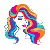 Vector illustration with beauty fashion model girl with colorful long dyed hair. Portrait of a beautiful woman with colouring rainbow hair, curly long haircut, salon icon poster