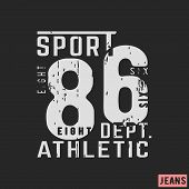 T-shirt print design. 86 athletic department vintage stamp. Printing and badge, applique, label, t shirts, jeans, casual and urban wear. Vector illustration. poster