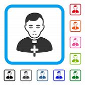 Glad Catholic Priest vector icon. Human face has gladness feeling. Black, grey, green, blue, red, pink color versions of catholic priest symbol in a rounded square. poster