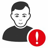 User Danger vector flat pictograph. Person face has gladness sentiment. poster