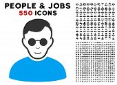 Gladness Blind Man vector pictogram with 550 bonus pity and happy men clip art. Human face has happiness mood. Bonus style is flat black iconic symbols. poster