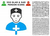 Joy Church Doctor vector icon with 550 bonus sad and glad person images. Person face has joy feeling. Bonus style is flat black iconic symbols. poster