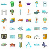 Metropolitan icons set. Cartoon set of 36 metropolitan vector icons for web isolated on white background poster