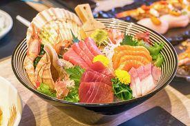 Fresh Salmon And Seafood Don, Close Up, Seafood Bowl Set Of Fresh Salmon Rice With Wahhabi And Sauce
