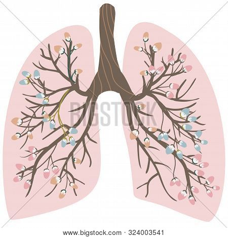 Blooming, Healthy Human Lungs. World-wide Day Against Pneumonia. The Fight Against Tuberculosis In M