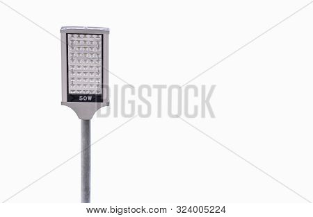 Clipping Path, Led Street Light Pole Isolated On White Background