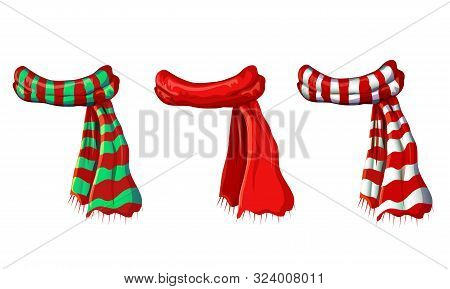 Vector Winter Red Scarf Collection Isolated On White Background. Illustration Of Red, Green White St