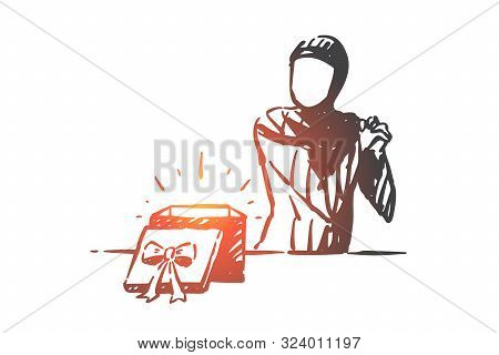 Muslim Woman Happy With Gift Box Concept Sketch. Arab Girl Receiving Surprise Present Clapping Hands