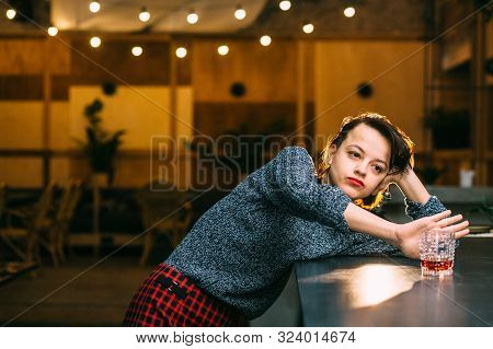 Drunk Woman Alone Refusing To Drink Alcohol In Bar, Alcohol Abuse And Alcoholic Housewife Concept. D