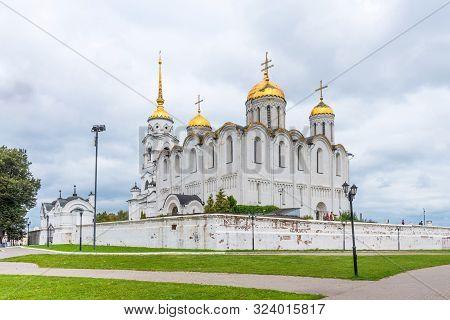 Vladimir, Russia - August 25, 2019. Assumption Cathedral In Vladimir. Golden Ring Of Russia. Dormiti