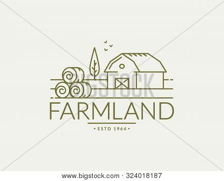 Farm Vector Logo With Farmhouse And Hay Bales.
