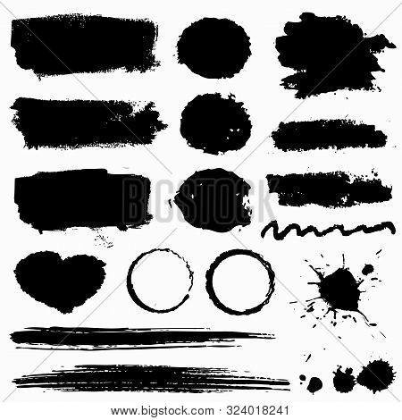 Grunge Stains, Paint Brush Strokes And Ink Blots Isolated On White Background. Black Vector Design E