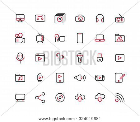 Media Outline Icon Set, Vector And Illustration.