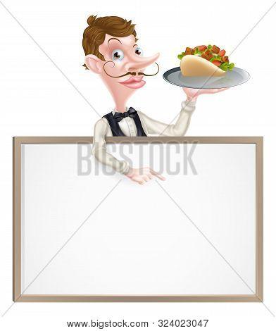 An Illustration Of A Cartoon Kebab Waiter Sign