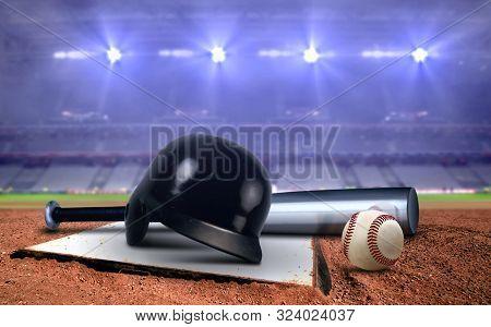 Baseball Equipment In A Stadium Under Spotlights