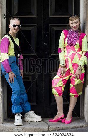 Stylish Attendees Gathering Outside 180 Strand For London Fashion Week.