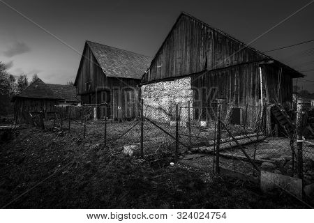 Gardens And  Traditional Barns In Turiec Region, Central Slovakia.