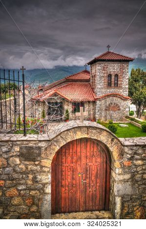 Exterior view to Church small St. Vrach St. Cosmas and Damian at Ohrid, North Macedonia poster