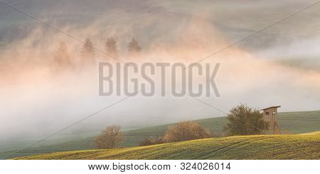 Hunting Lookout In The Fields On A Foggy Morning, Turiec Region, Slovakia.