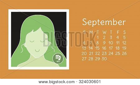 September 2020. Calendar. Zodiac Sign: Virgo. Vector Horoscope. Astrological Calender. Color Design