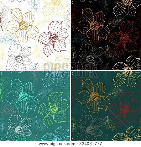 Colorful Nature Background. Vector Bright Background. Vector Flower Plants. Seamless Pattern. Seamle