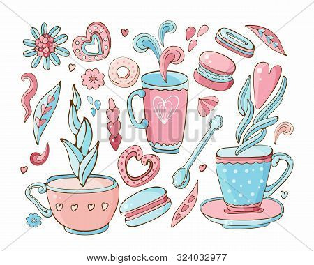 Vector Collection Of Doodle Tea And Coffee. Tea Time Elements Collection. Set Of Icons Sweets, Cooki