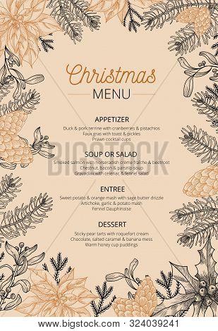 Food Restaurant Cuisine Menu Template Vector Illustration. Price Set For Christmas Dishes Appetizer,