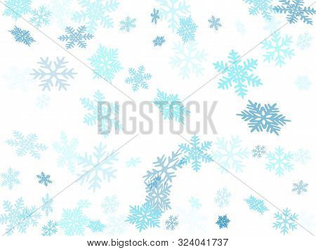 Snow Flakes Falling Macro Vector Graphics, Christmas Snowflakes Confetti Falling Scatter Backdrop. W