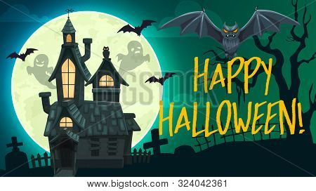 Halloween Horror Graveyard Vector Banner With Ghosts, Bats And Haunted House, Full Moon, Creepy Tree