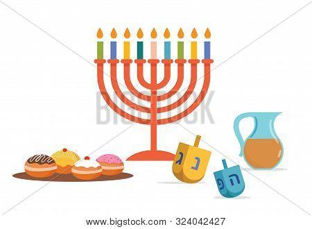 Happy Hanukkah, Jewish Festival Of Lights Background For Greeting Card, Invitation, Banner