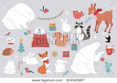 Winter Forest Animals, Merry Christmas Greeting Cards, Posters With Cute Bear, Birds, Bunny, Deer, M