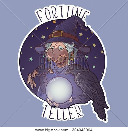 Old Witch With Her Black Raven Holding A Crystal Ball And Foretelling The Future. Funny Cartoon Styl