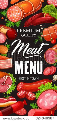 Vector Pork And Beef, Lamb And Bacon, Meat Shop Products. Lettuce Leaves And Salami, Gammon, Peppero