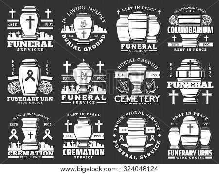 Funeral Ceremony And Cremation Service, Cemetery And Funerary Urns Isolated Icons. Vector Burial Age