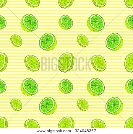 Vector Lime Seamless Pattern, Colorful Background Template, Bright Green Citric Fruits On The Stripe