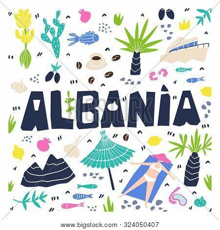 Albania Flat Hand Drawn Vector Illustration. Albania Flora, Fauna, Landmarks Cartoon Cliparts. Doodl
