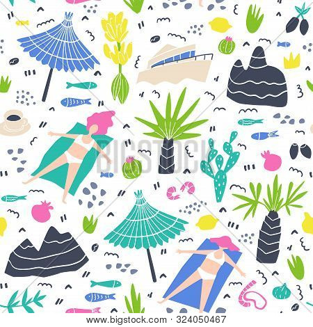 Seamless Flat Hand Drawn Vector Pattern Tan Girls, Palm Trees, Flowers, Fruits, Fishes, Cactus, Alba