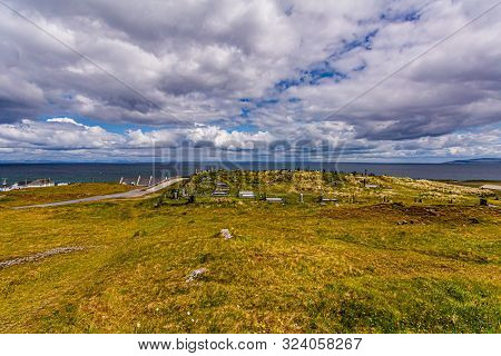Panoramic View Of The Irish Countryside With Graves On The Hill, A Road In Inis Oirr Island With The