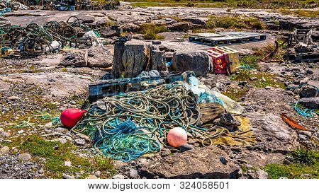 Impressive Accumulation Of Marine Litter, Such As Fishing Nets, Ropes, Lobster / Crab Crabs Or Fishi