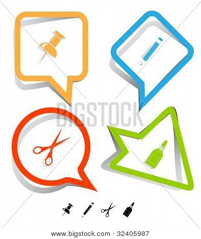 Education icon set. Push pin, pencil, scissors, glue bottle. Paper stickers. Raster illustration.