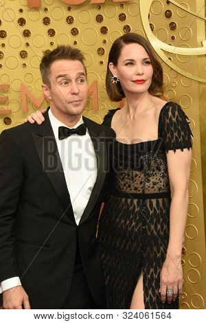 LOS ANGELES - SEP 22:  Sam Rockwell, Leslie Bibb at the Primetime Emmy Awards - Arrivals at the Microsoft Theater on September 22, 2019 in Los Angeles, CA
