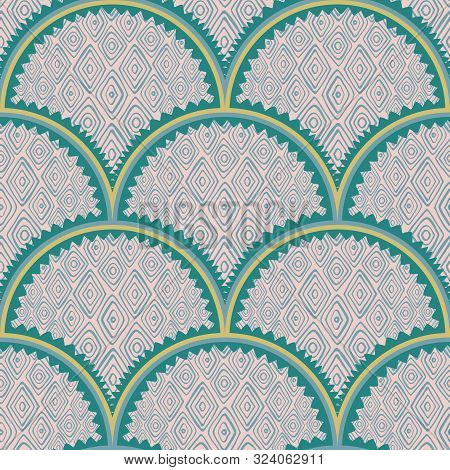 Colorful Fish Scales Squama Background With Diamond Shape Texture Vector Seamless Fabric Pattern, Ti