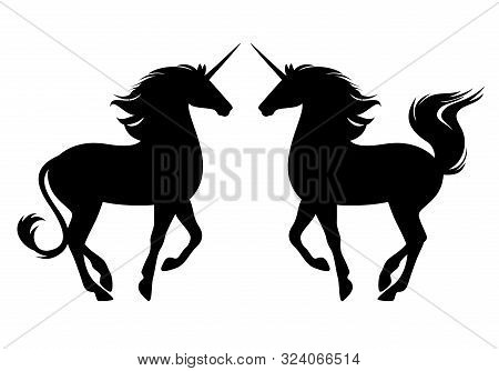 Prancing Unicorn Side View Silhouette - Profile Pose Mythological Horse Black And White Vector Desig