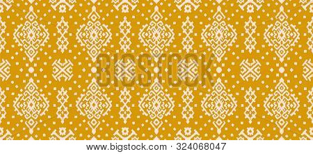 Ikat Geometric Folklore Ornament. Oriental Vector Damask Pattern. Ancient Art Of Arabesque. Tribal E