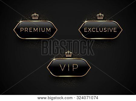 Vip, Premium And Exclusive Black Glass Labels With Golden Crown And Frame On A Black Background. Pre