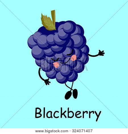 Cute And Funny Character In A Comic Book Style Blackberry Wildly Smiling, Cartoon Vector Illustratio