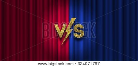 Glitter Gold Versus Logo On Red And Blue Curtain Background. Vs Logo For Games, Battle, Performance,