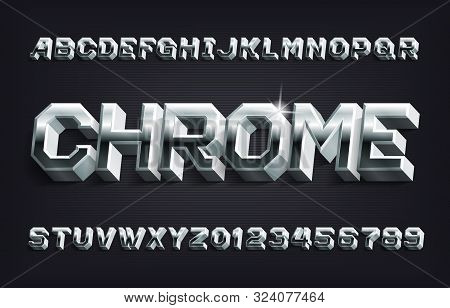 Chrome Alphabet Font. 3d Metallic Letters And Numbers With Shadow. Stock Vector Typescript For Your